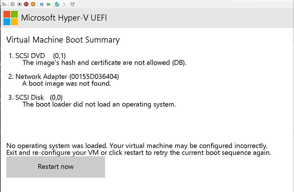 No operating system was loaded. Your virtual machine may be configured incorrectly